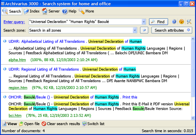 Archivarius 3000 v4.21 - Instant full-text search of documents and e-mail in 18 languages